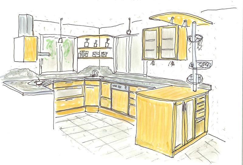idee wird wirklichkeit von der skizze zur fertigen k che culina lignea. Black Bedroom Furniture Sets. Home Design Ideas